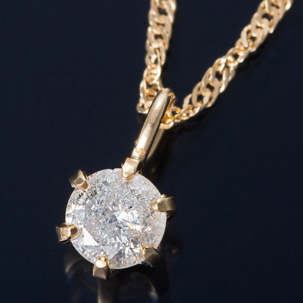K18 国内即発送 0.1ctダイヤモンドペンダント ショッピング ネックレス 鑑別書付き スクリューチェーン