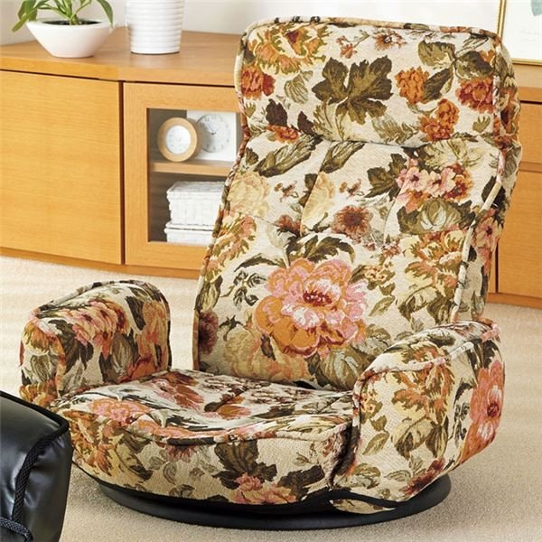 TVが見やすい肘付回転座椅子 リクライニングチェア 買い取り 〔同色2脚組 花柄〕 激安セール ポケット付き
