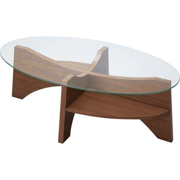 オーバルテーブル 爆買いセール 百貨店 ローテーブル 〔幅105cm〕 LE-454WAL 強化ガラス天板 ウォールナット