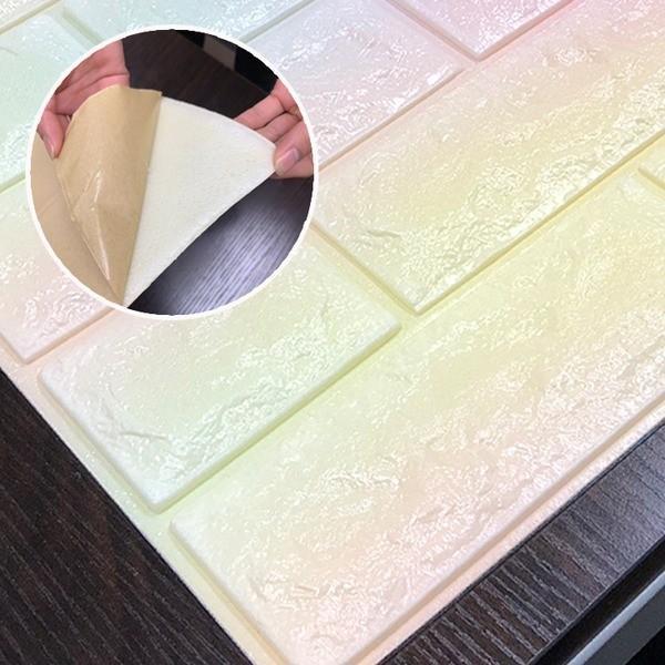 クッションブリック〔ブロッサム〕 12枚組 壁紙シール 壁用クッションレンガ 3D立体壁紙 国産品 メーカー直売 煉瓦シート〔代引不可〕 れんがシート