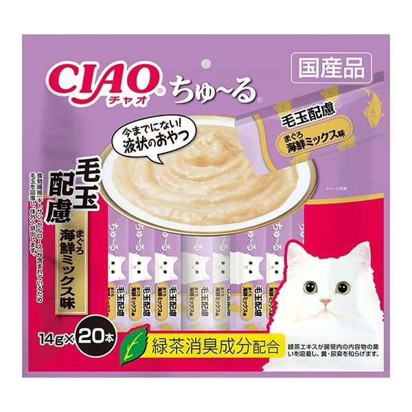 まとめ CIAO ちゅ〜る 至高 毛玉配慮 まぐろ 14g×20本 海鮮ミックス味 〔×16セット〕 新作多数 猫フード ペット用品