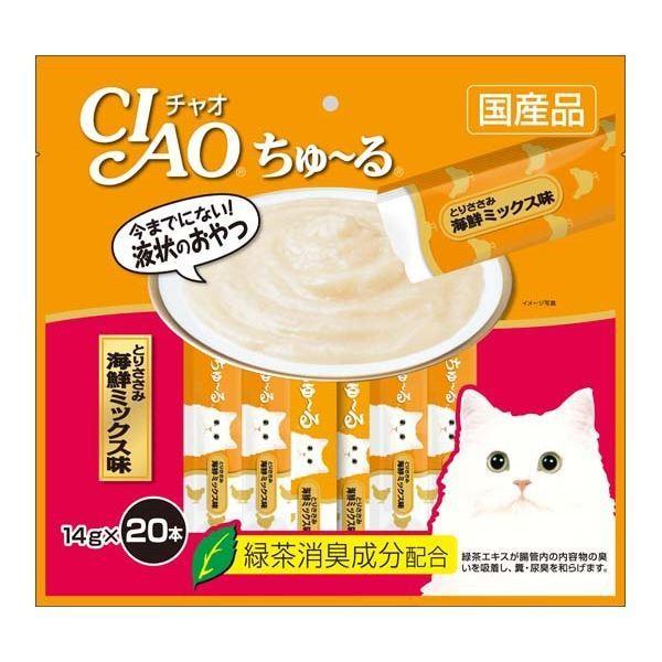 まとめ CIAO ちゅ〜る メーカー再生品 とりささみ 海鮮ミックス味 ペット用品 驚きの値段 〔×16セット〕 14g×20本 猫フード