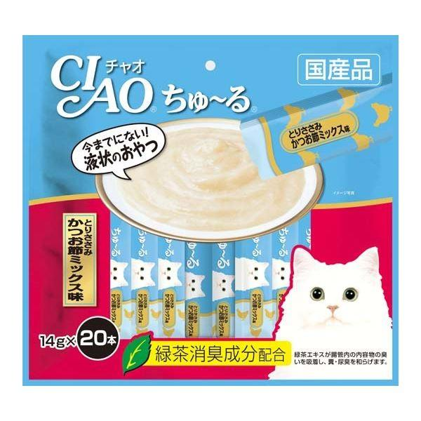 お歳暮 まとめ CIAO ちゅ〜る 完売 とりささみ かつお節ミックス味 ペット用品 猫フード 〔×16セット〕 14g×20本