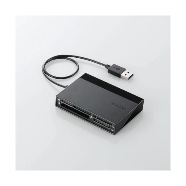 エレコム カードリーダー USB2.0 2倍速転送 USB2.0ハブ3ポート付 ケーブル一体タイプ ブラック MR-C24BK USBハブ付き48+5メディア対応カードリーダ ELECOM|musasinojapan