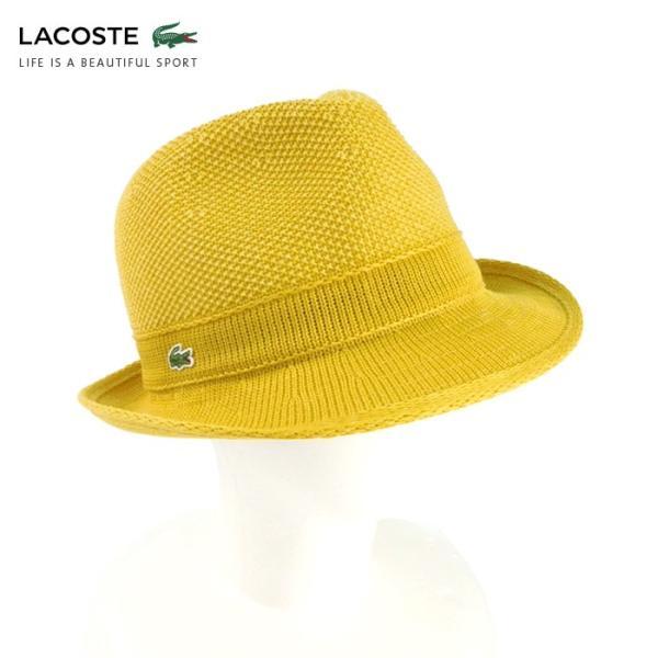 ラコステ メンズ 帽子 中折れ帽子 麦わら帽子 レディース LACOSTE ストローハット 1万0584 UV コットン ブランド 春 夏 イエロー 58 あすつく museum8