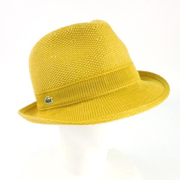 ラコステ メンズ 帽子 中折れ帽子 麦わら帽子 レディース LACOSTE ストローハット 1万0584 UV コットン ブランド 春 夏 イエロー 58 あすつく museum8 06