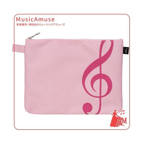 ポケットポーチ ト音記号 ピンク BG-90P/GC/PK  ミュージックアミューズ|music-amuse
