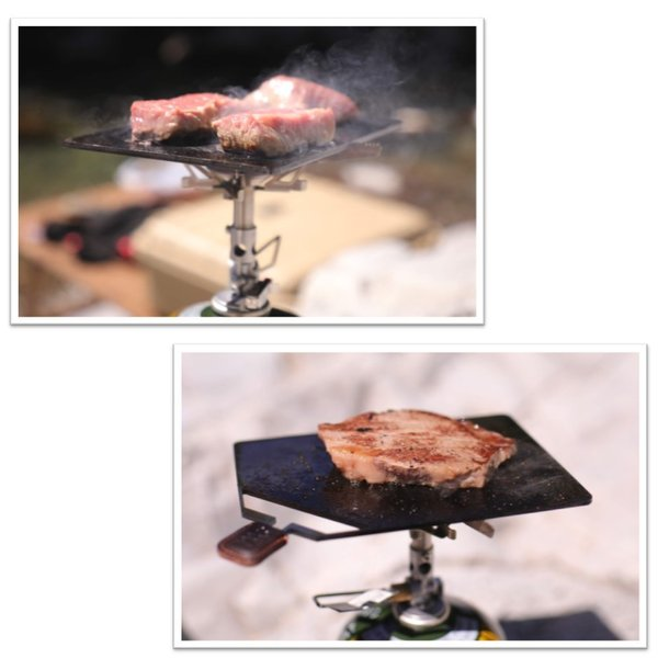 キャンプ ミニ鉄板 BONES-LABO ボーンズラボ SMALL-PLATEII スモールプレート2 グリルプレート 黒皮鉄 ソロキャンプ B6サイズ 栃木レザー|music-outdoor-lab