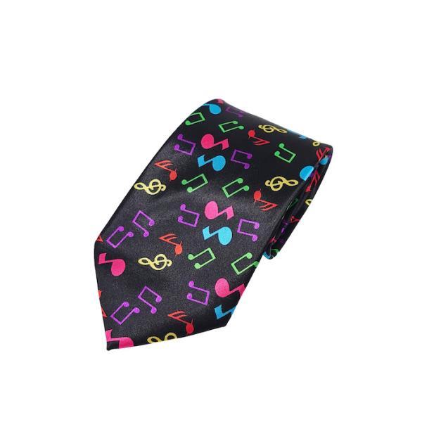 ネクタイ カラフル音符 msc necktie note black ミュージック