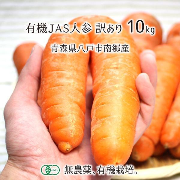 有機JAS人参 訳あり 10kg 無農薬 無化学肥料 有機栽培 青森県八戸市南郷産 にんじん 送料無料