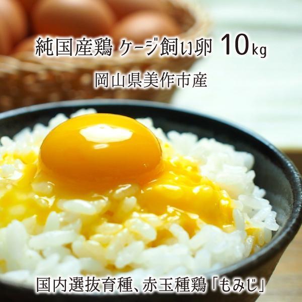 ケージ飼い卵 10kg(約160玉) 純国産鶏 もみじ 岡山県美作市産 赤玉 めぐみ 非遺伝子組換・非抗生物質飼料 送料無料
