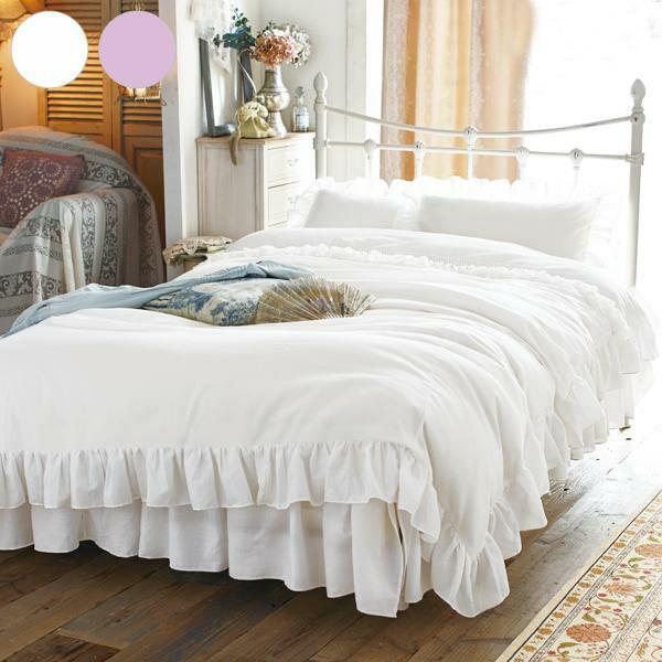 RoomClip商品情報 - 布団カバー3点セット E41 洋シングル  布団カバー 布団カバーセット ホワイト パープル フリル