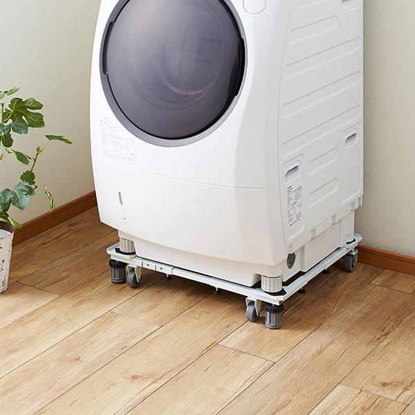 角パイプ洗濯機スライド台 (便利グッズ 洗濯機 キャスター付き ランドリー 台 洗濯台 洗濯パン 移動 一人暮らし かさ上げ かさ上げ台 台車 ドラム式 洗)