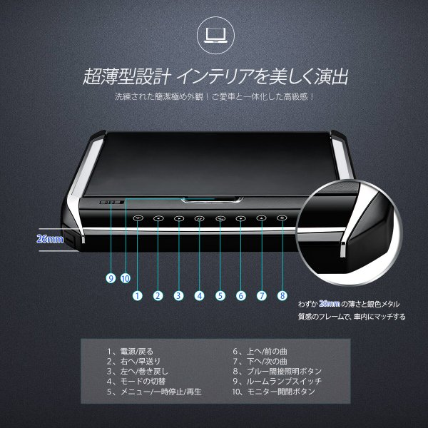 (CM121HD)XTRONS 12.1インチ 大画面 フリップダウンモニター 1280x800 解像度 超薄 軽 HDMI対応 1080Pビデオ対応 外部入力 ドア連動 水平開閉120度 USB・SD|mycarlife-jp|03