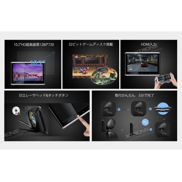 (HD1003HD)XTRONS 10.2インチ ヘッドレスト モニター DVDプレーヤー 超高画質1280*720 1080Pビデオ対応 MP5対応 木目調フレーム 軽薄 取付0円 USB・SD|mycarlife-jp|02