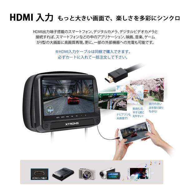 (HD923)XTRONS 9インチ ヘッドレスト DVDプレーヤー スロットイン式 HDMI対応 外部入力・出力 カバー付き ゲーム USB・SD 2個1セット|mycarlife-jp|05