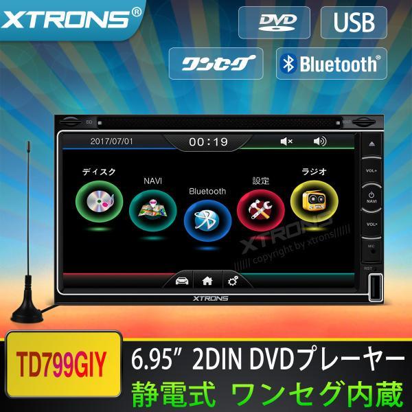 """(TD699GIY) 2DIN 6.95"""" ワンセグ カーナビ DVDプレーヤー"""
