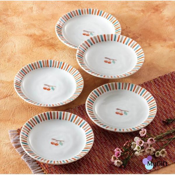 九谷焼 4.5号皿揃 さくらんぼ K6-63 ギフト 鉢 小鉢 中鉢 和食器 小皿 豆皿 贈り物 結婚祝い 内祝い お返