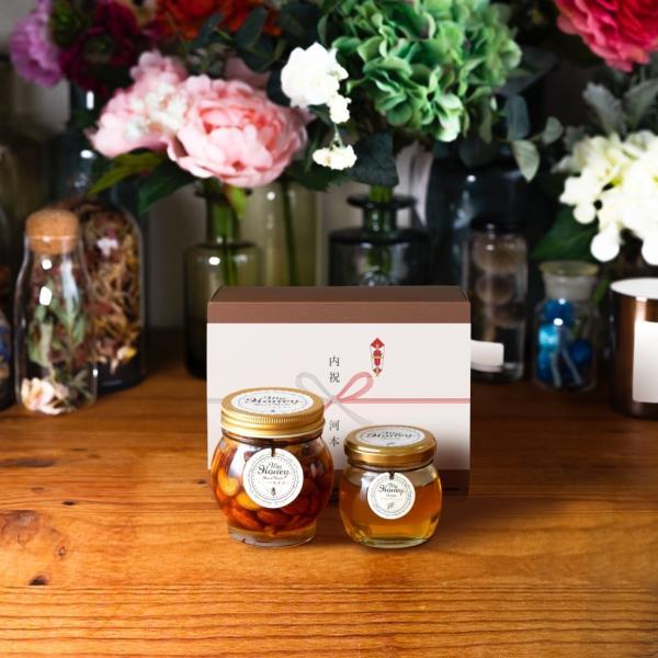 【MYHONEY公式】はちみつ ハチミツ マイハニー ナッツの蜂蜜漬けL(200g)+アカシアハニーM(90g)/ブラウンギフトボックス(S)+熨斗 生はちみつ 贈り物 ギフト