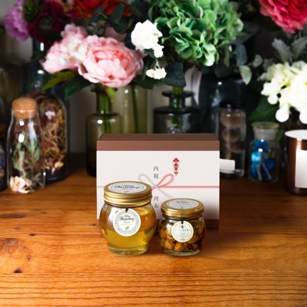 【MYHONEY公式】はちみつ ハチミツ マイハニー アカシアハニーL(200g)+ナッツの蜂蜜漬けエトワールM(90g)/ブラウンギフトボックス(S)+熨斗 生はちみつ 贈り物