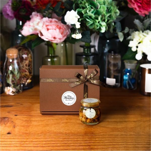 【MYHONEY公式】はちみつ ハチミツ マイハニー ナッツの蜂蜜漬けエトワールM(90g)/ブラウンギフトボックス(S)+MYHONEYロゴ入りリボン 生はちみつ 贈り物 ギフト