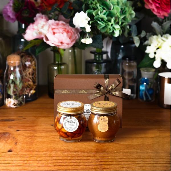 【MYHONEY公式】はちみつ ハチミツ マイハニー ナッツの蜂蜜漬けL(200g)+ピーナッツハニーL(200g)/ブラウンギフトボックス(S)+MYHONEYロゴ入りリボン 生はちみつ