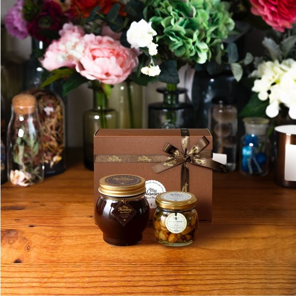 【MYHONEY公式】はちみつ ハチミツ マイハニー ハニーショコラL(200g)+ナッツの蜂蜜漬けエトワールM(90g)/ブラウンギフトボックス(S)+MYHONEYロゴ入りリボン