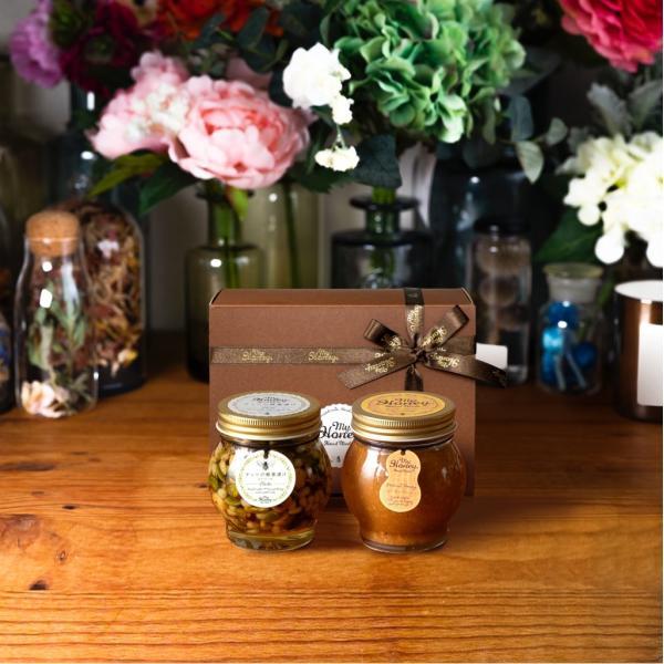 ナッツの蜂蜜漬け エトワールL(200g) + ピーナッツハニーL(200g) / ブラウンギフトボックス(S) + MYHONEYロゴ入りリボン