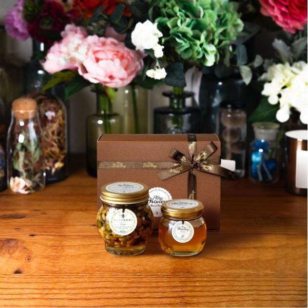 【MYHONEY公式】はちみつ ハチミツ マイハニー ナッツの蜂蜜漬けエトワールL(200g)+アカシアハニーM(90g)/ブラウンギフトボックス(S)+MYHONEYロゴ入りリボン