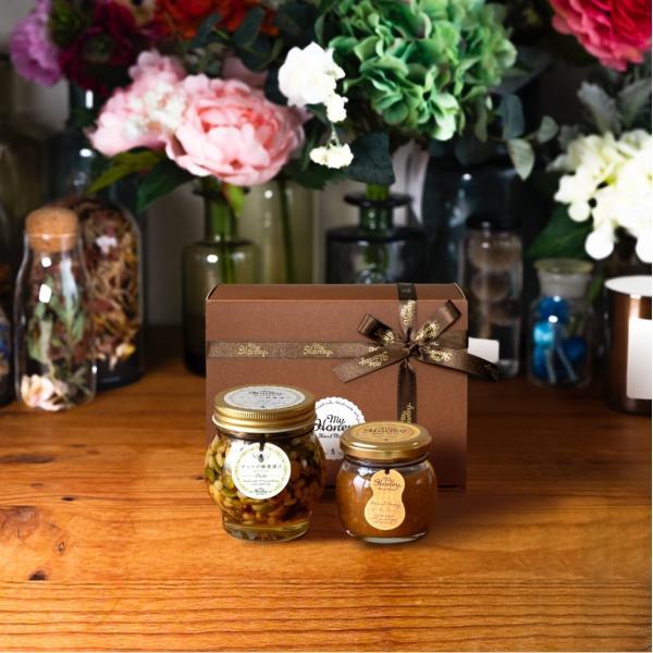 ナッツの蜂蜜漬け エトワールL(200g) + ピーナッツハニーM(90g) / ブラウンギフトボックス(S) + MYHONEYロゴ入りリボン
