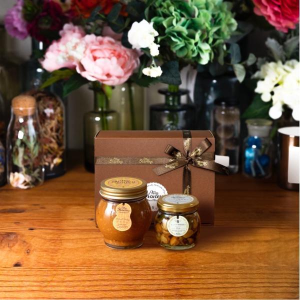 【MYHONEY公式】はちみつ ハチミツ マイハニー ピーナッツハニーL(200g)+ナッツの蜂蜜漬けエトワールM(90g)/ブラウンギフトボックス(S)+MYHONEYロゴ入りリボン
