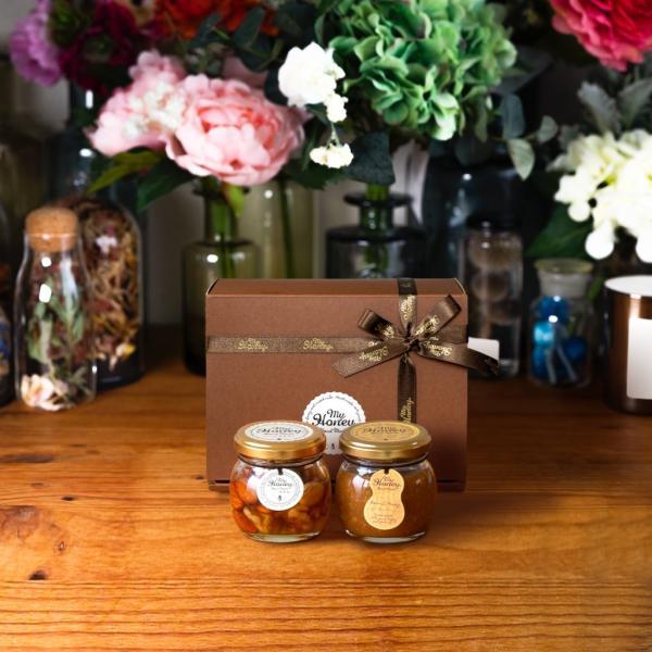 【MYHONEY公式】はちみつ ハチミツ マイハニー ナッツの蜂蜜漬けM(80g)+ピーナッツハニーM(90g)/ブラウンギフトボックス(S)+MYHONEYロゴ入りリボン 生はちみつ
