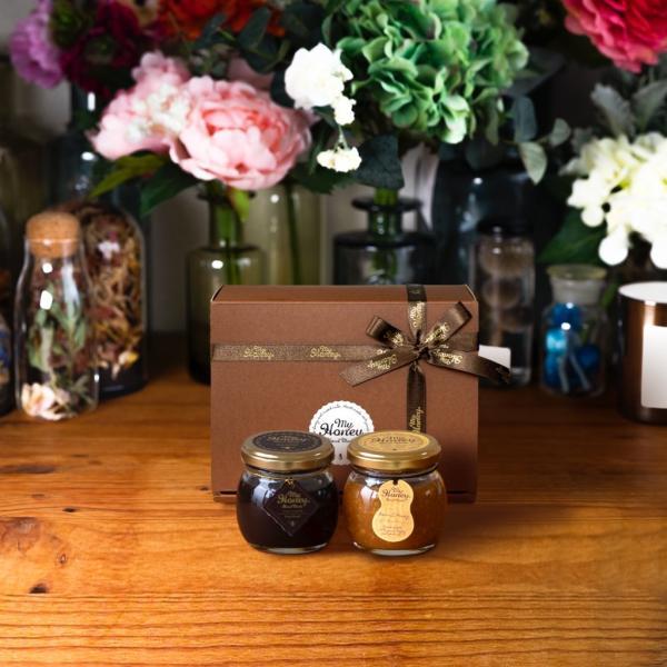 【MYHONEY公式】はちみつ ハチミツ マイハニー ハニーショコラM(90g)+ピーナッツハニーM(90g)/ブラウンギフトボックス(S)+MYHONEYロゴ入りリボン 贈り物
