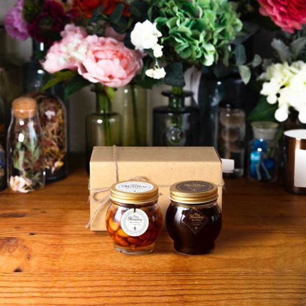【MYHONEY公式】はちみつ ハチミツ マイハニー ナッツの蜂蜜漬けL(200g)+ハニーショコラL(200g)/ナチュラルクラフトボックス(M)+麻紐リボン 生はちみつ 贈り物