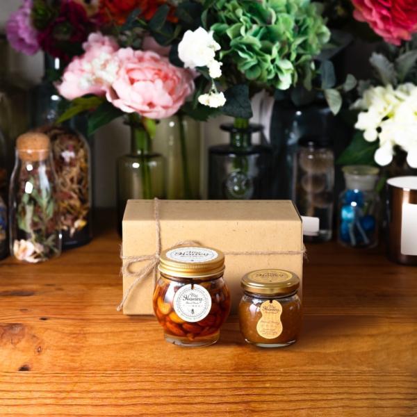 【MYHONEY公式】はちみつ ハチミツ マイハニー ナッツの蜂蜜漬けL(200g)+ピーナッツハニーM(90g)/ナチュラルクラフトボックス(M)+麻紐リボン 生はちみつ 贈り物