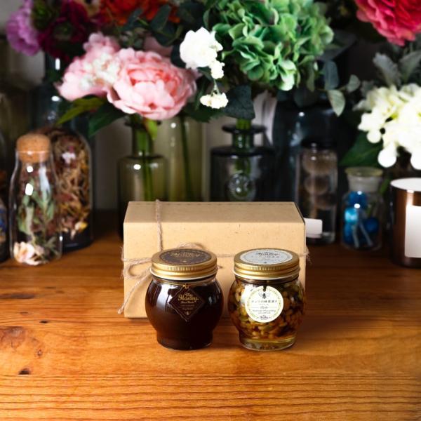 【MYHONEY公式】はちみつ マイハニー ハニーショコラL(200g)+ナッツの蜂蜜漬けエトワールL(200g)/ナチュラルクラフトボックス(M)+麻紐リボン 生はちみつ