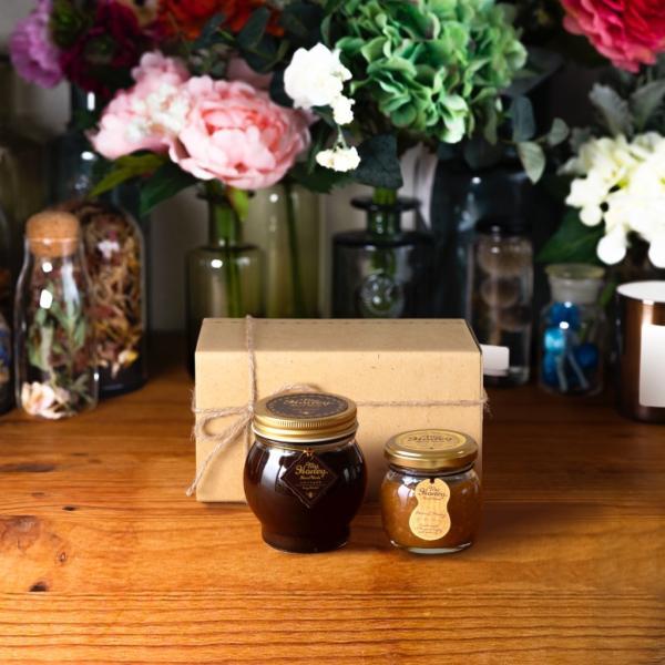 【MYHONEY公式】はちみつ ハチミツ マイハニー ハニーショコラL(200g)+ピーナッツハニーM(90g)/ナチュラルクラフトボックス(M)+麻紐リボン 生はちみつ 贈り物
