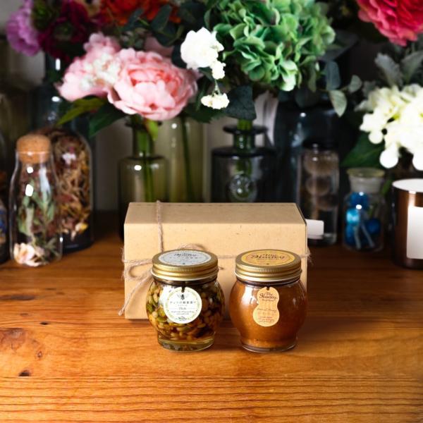 【MYHONEY公式】はちみつ マイハニー ナッツの蜂蜜漬けエトワールL(200g)+ピーナッツハニーL(200g)/ナチュラルクラフトボックス(M)+麻紐リボン 生はちみつ