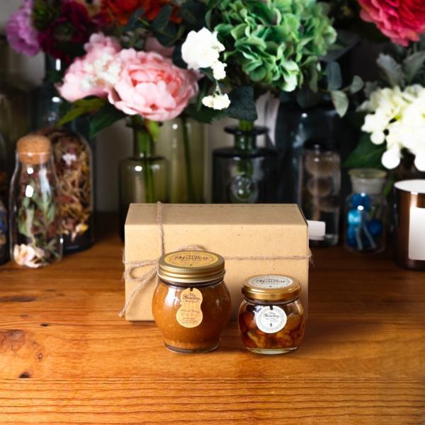 【MYHONEY公式】はちみつ ハチミツ マイハニー ピーナッツハニーL(200g)+ナッツの蜂蜜漬けM(80g)/ナチュラルクラフトボックス(M)+麻紐リボン 生はちみつ 贈り物