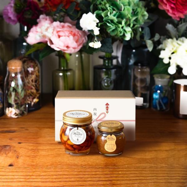 【MYHONEY公式】はちみつ ハチミツ マイハニー ナッツの蜂蜜漬けL(200g)+ピーナッツハニーM(90g)/ナチュラルクラフトボックス(M)+熨斗 生はちみつ 贈り物 ギフト