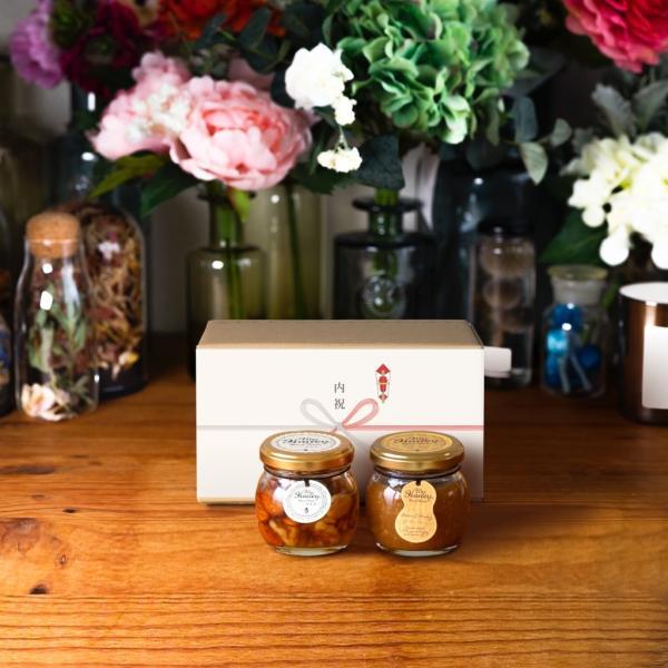 【MYHONEY公式】ナッツの蜂蜜漬けM(80g)+ピーナッツハニーM(90g)/ナチュラルクラフトボックス(M)+熨斗ギフト 生はちみつ 贈り物 ギフト