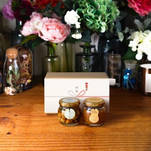 【MYHONEY公式】ナッツの蜂蜜漬けエトワールM(90g)+ピーナッツハニーM(90g)/ナチュラルクラフトボックス(M)+熨斗ギフト 生はちみつ 贈り物 ギフト