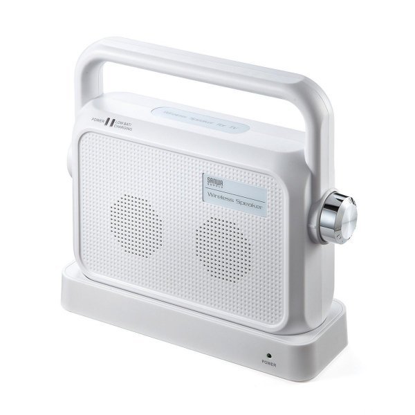 サンワダイレクト ワイヤレススピーカー 付与 テレビの音を手元で聞く TV用手元スピーカー 5%OFF 400-SP064W 充電式 最大25m