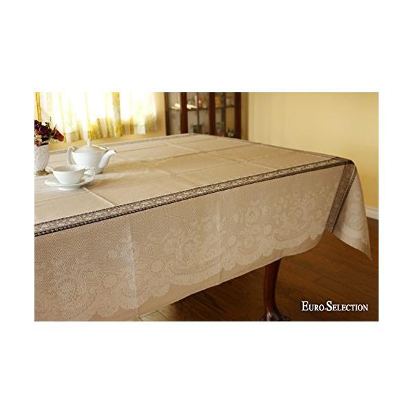 テーブルクロス フランス輸入ジャガード織り レース ベージュ 160×200cm 長方形 国内正規品 tablecloth 撥水加工 4人掛け用 期間限定今なら送料無料