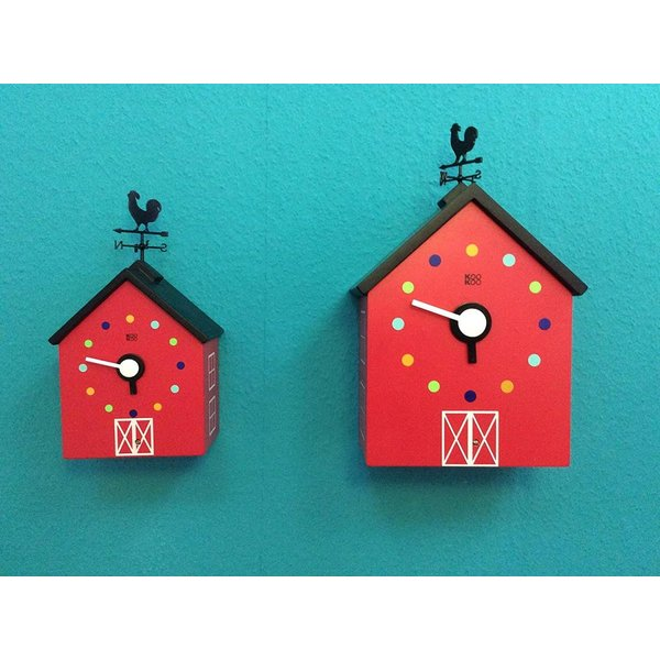 KOOKOO クークー レッドバーン 今だけ限定15%OFFクーポン発行中 動物の鳴き声 農場 鳩時計 風見鶏 壁時計 保障 デザイン 子供