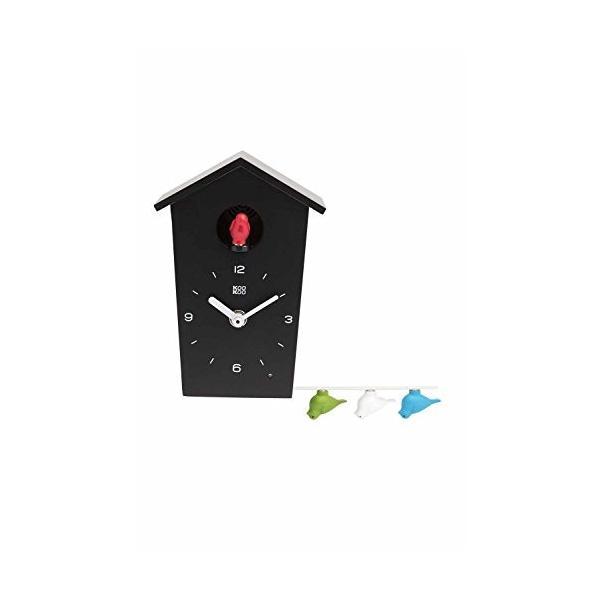 手数料無料 KOOKOO クークー バードハウス ミニ 黒色 またはカッコーの鳴き声 期間限定送料無料 素敵なデザインの時計 自然の鳥のさえずりが12種類 ジャン‐クロー