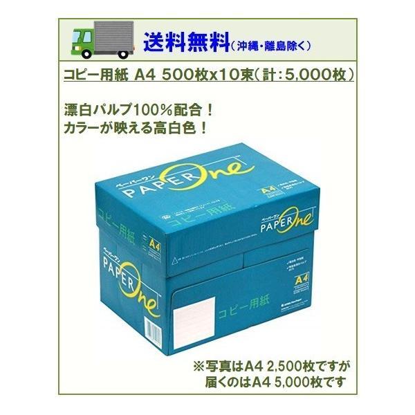 コピー用紙 高品質コピー用紙 A4 500枚×10束(1箱)5000枚 白色度 約95% アカシアパルプ 100% ペーパーワン Copy&Laser後継 myshop