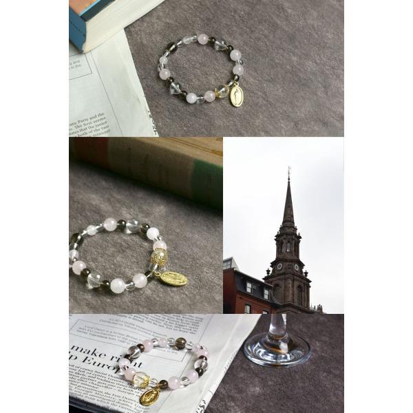 ヒマラヤ水晶×マリアブレスレット  ヒマラヤ水晶 スモーキークォーツ ローズクォーツ 水晶