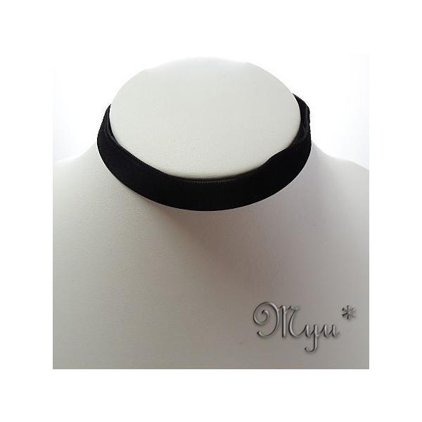チョーカー 黒ベロア ベルベット 片面 チョーカー フォーマル ドレスアップ 女性 コスパ