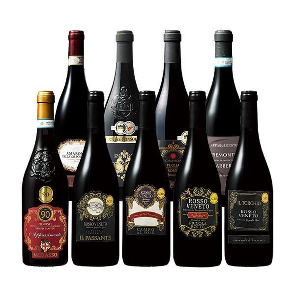 ワイン 赤ワインセット イタリア・アパッシメント製法 厳選アマローネ入り9本セット 赤ワイン フルボディ 送料無料